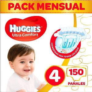 Pañales Huggies talla 4, de 7 a 18 kg.