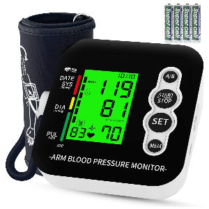 Tensiómetro de brazo a pilas, mide la presión arterial, pantalla LCD